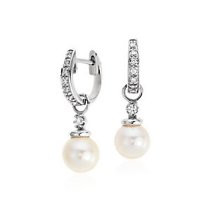 Akoya Cultured Pearl and Pavé Diamond Drop Earrings in 18k White Gold