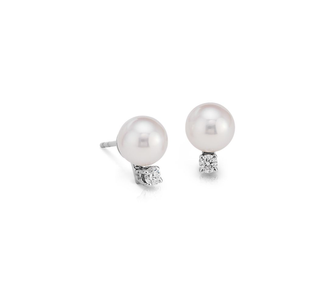 Premier Akoya Cultured Pearl and Diamond Earrings in 18k White Gold (7.0-7.5mm)