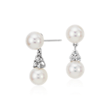 Premier Akoya Cultured Pearl and Diamond Earrings in 18k White Gold (7mm)