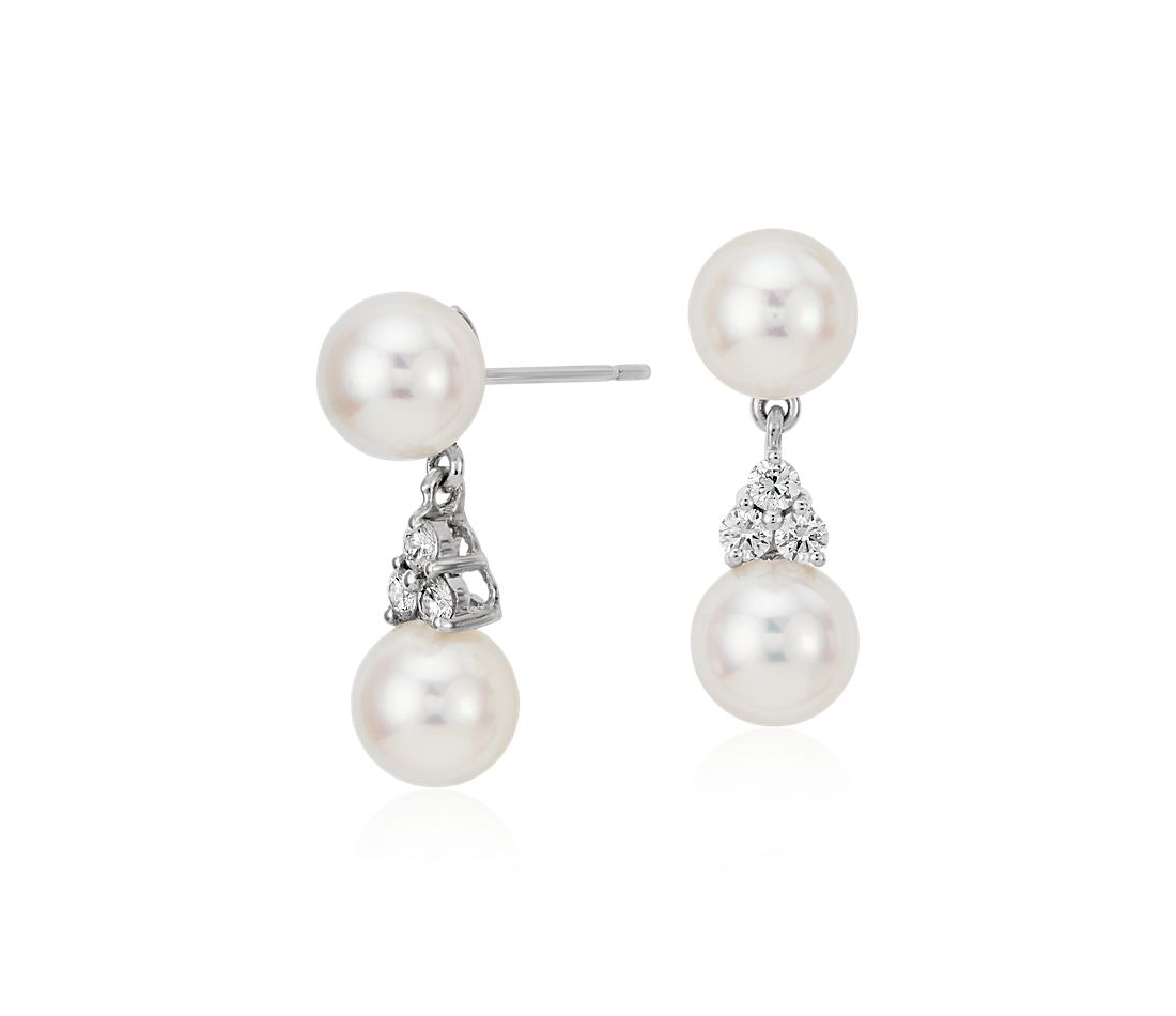 Premier Akoya Cultured Pearl and Diamond Earrings in 18k White Gold