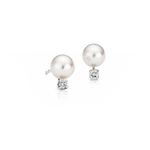 Classic Akoya Cultured Pearl and Diamond Stud Earrings in 18k White Gold (6.0-6.5mm)
