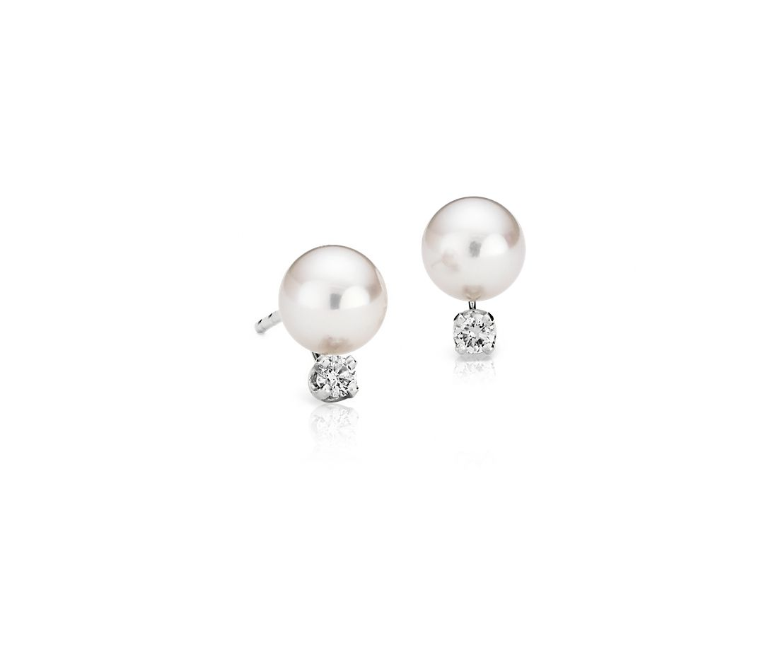 Classic Akoya Cultured Pearl and Diamond Earrings in 18k White Gold (6.0-6.5mm)