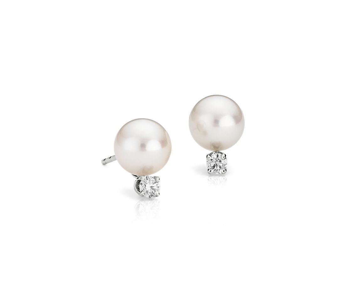 Classic Akoya Cultured Pearl And Diamond Stud Earrings In