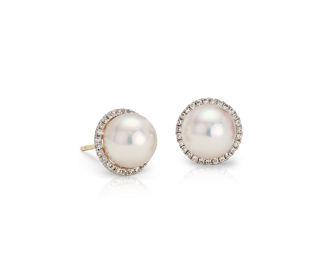 Akoya Cultured Pearl and Diamond Halo Stud Earrings in 14k ...