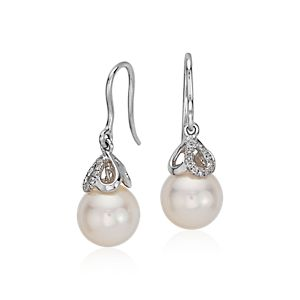 Akoya Cultured Pearl and Diamond Drop Earrings in 18k White Gold (8.5mm)