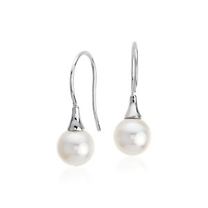 Akoya Cultured Pearl Drop Earrings in 18k White Gold (7mm)