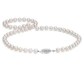 Premier Akoya Cultured Pearl Strand Necklace in 18k White Gold (6.5-7mm)