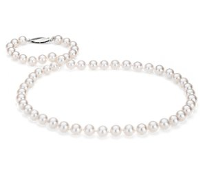 Classic Akoya Cultured Pearl Strand Necklace in 18k White Gold (6.5-7.0mm)