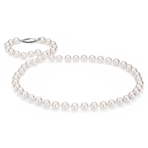 Collier de perles de culture d'Akoya classique en or blanc 18 carats (6,5-7,0 mm)