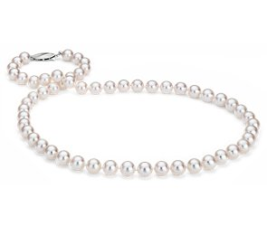 Classic Akoya Cultured Pearl Strand Necklace in 18k White Gold (7-7.5mm)