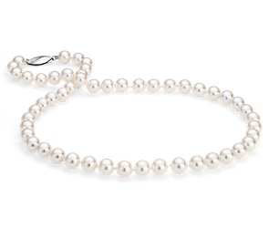 Classic Akoya Cultured Pearl Strand Necklace in 18k White Gold (7.5-8mm)