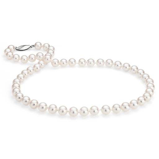 Collier de perles de culture d'Akoya classique en or blanc 18 carats (7,5-8,0 mm)