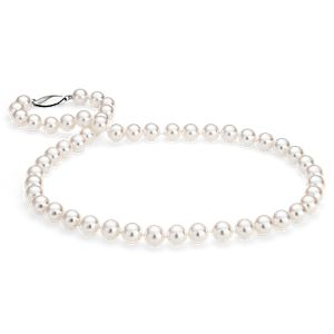 Classic Akoya Cultured Pearl Strand Necklace in 18k White Gold (7.5-8.0mm)