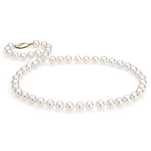 Classic Akoya Cultured Pearl Strand Necklace in 18k Yellow Gold (7.5-8.0mm)