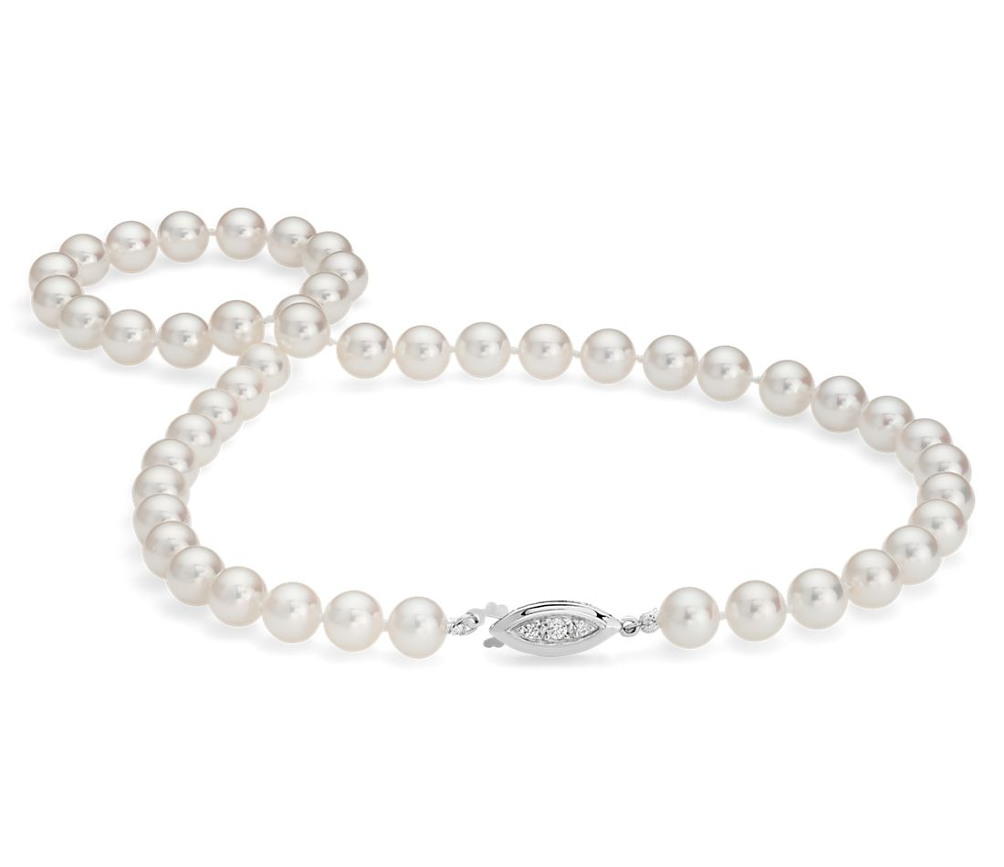 """Premier Akoya Cultured Pearl Strand Necklace with 18k White Gold (7-7.5mm) 16"""""""