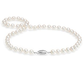 Premier Akoya Cultured Pearl Strand Necklace with 18k White Gold (7.5-8mm)