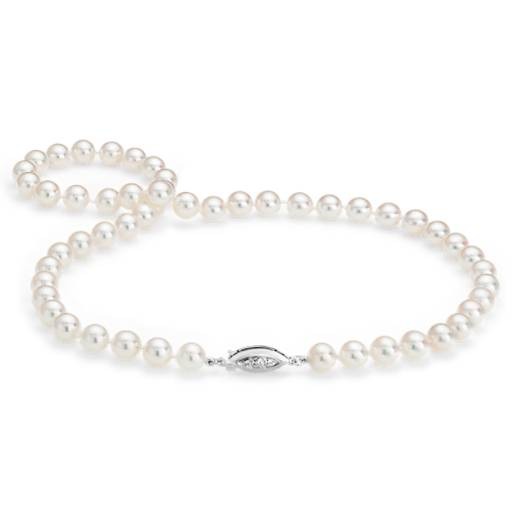 Collier en perles de culture d'Akoya de la plus haute qualité avec fermoir en diamant en or blanc 18 carats (7,5-8,0 mm)