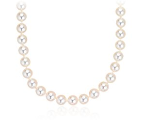 Classic Akoya Cultured Pearl Strand with 18k White Gold (7.0-7.5mm) 16