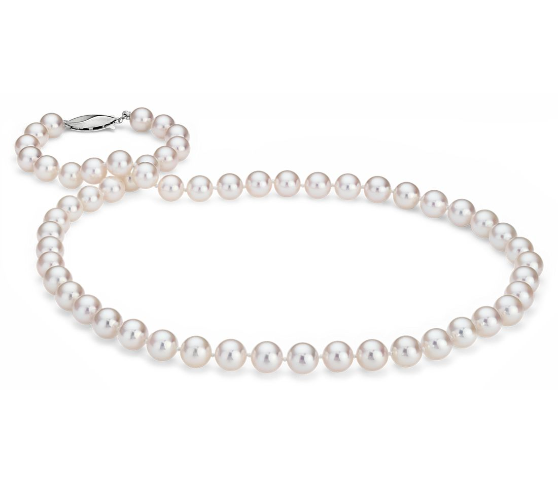Classic Akoya Cultured Pearl Strand Necklace in 18k White ...