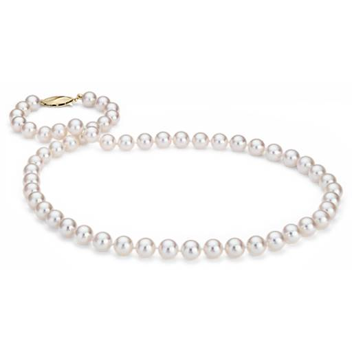 Classic Akoya Cultured Pearl Strand Necklace in 18k Yellow Gold (7.0-7.5mm)