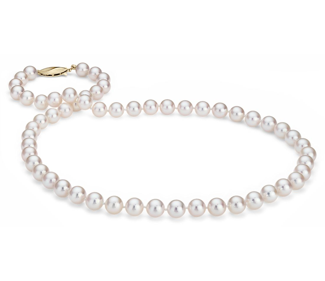 Pearl Necklace Akoya: Classic Akoya Cultured Pearl Strand Necklace In 18k Yellow