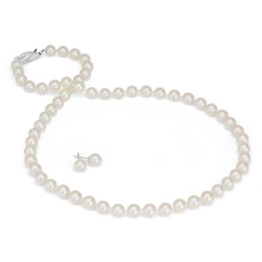 Juego clásico de collar y aretes de perlas de Akoya cultivadas en oro blanco de 18k (6,5-7mm)