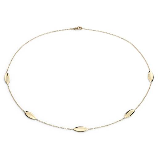 Almond Station Necklace in 14k Yellow Gold