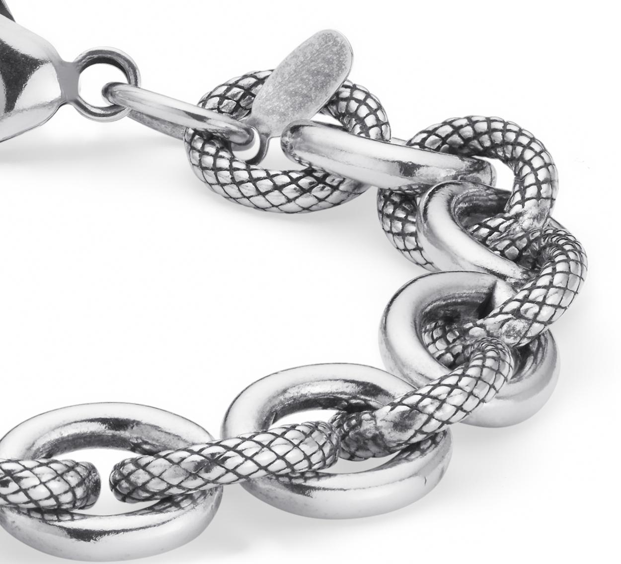 Alternating Link Bracelet in Sterling Silver