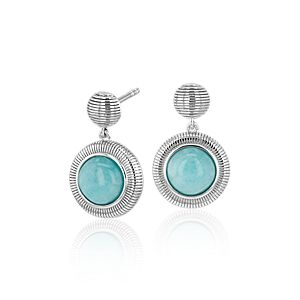 NEW Frances Gadbois Amazonite Strie Drop Earrings in Sterling Silver (7mm)