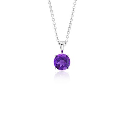 NEW Amethyst Solitaire Pendant in 14k White Gold (7mm)