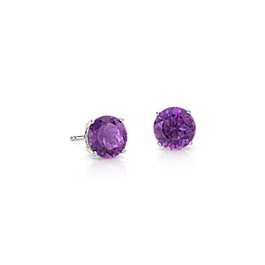NEW Amethyst Stud Earrings in 14k White Gold (7mm)