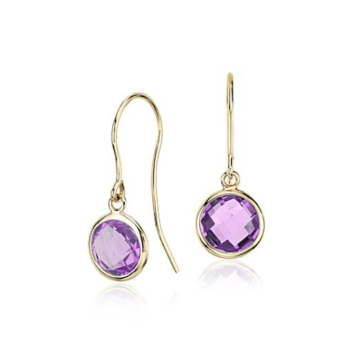 Amethyst Solitaire Earrings in 14k Yellow Gold (7mm)
