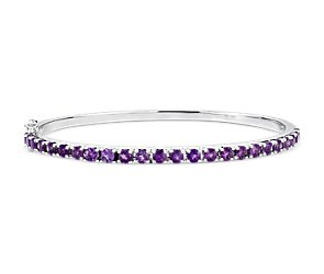 Amethyst Bangle Bracelet in Sterling Silver