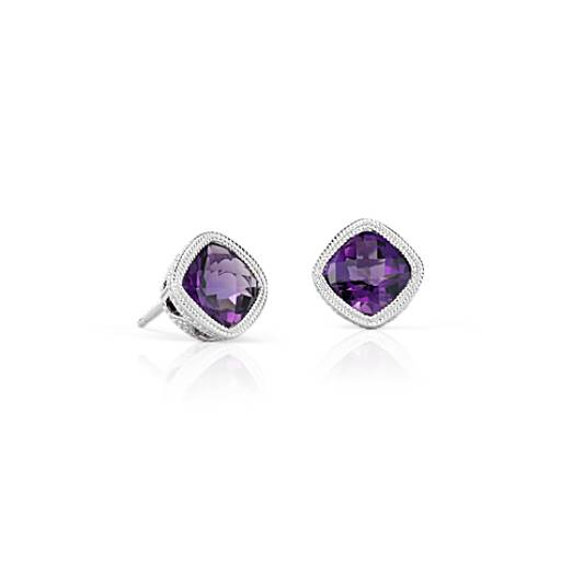 NEW Amethyst Cushion Milgrain Stud Earrings in Sterling Silver (6mm)