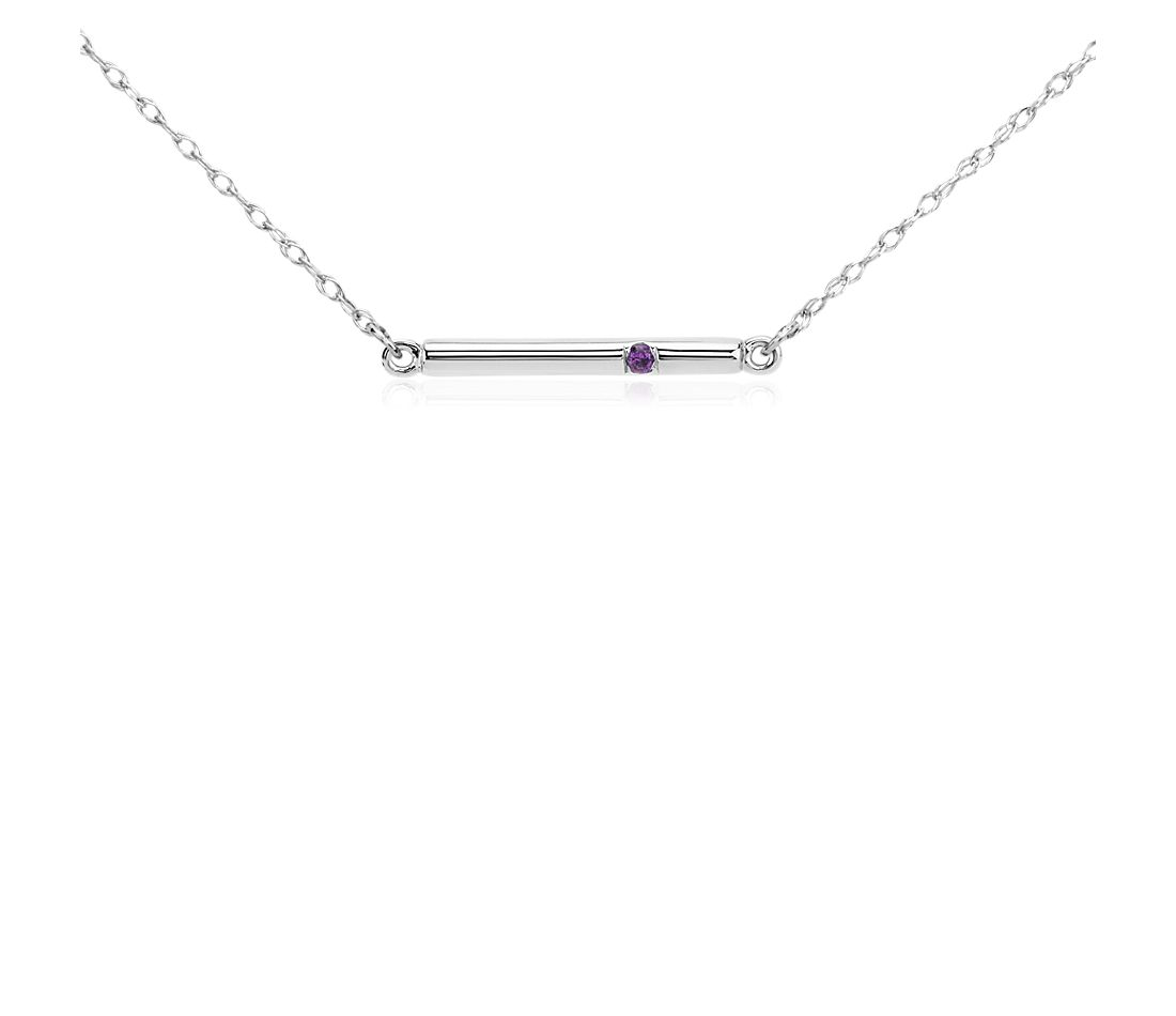 Amethyst Bar Necklace in 14k White Gold