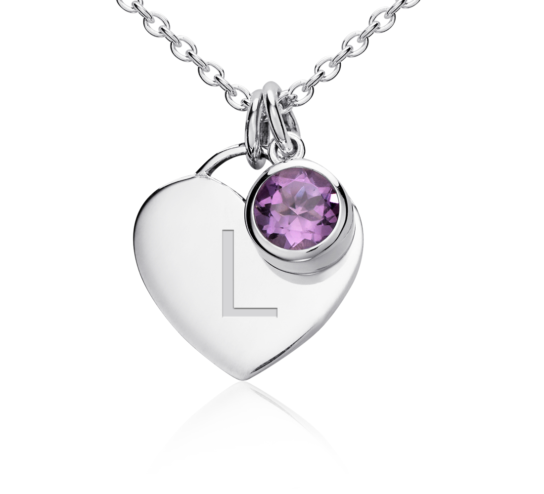 Amethyst Birthstone Heart Pendant in Sterling Silver (February)