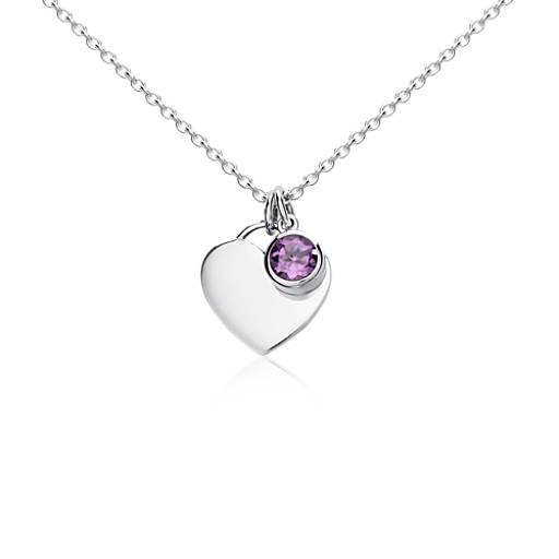 Amethyst Birthstone Heart Pendant in Sterling Silver
