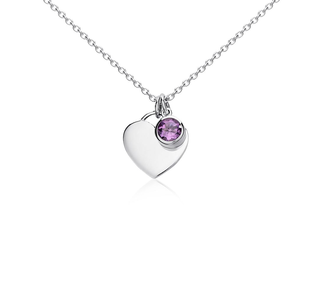 Amethyst Birthstone Heart Pendant in Sterling Silver (February) (4.5x4.5mm)
