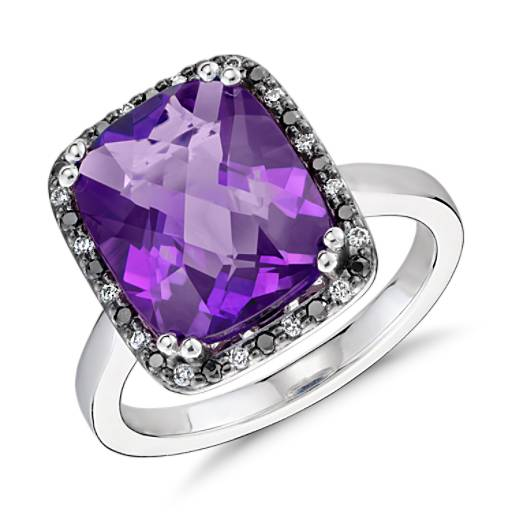 Robert Leser Amethyst and Diamond Halo Ring in 14k White Gold