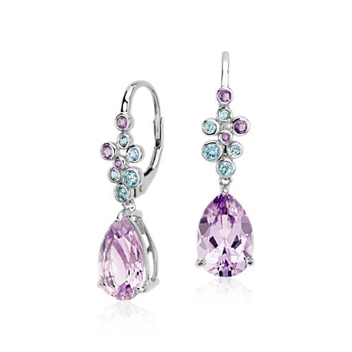 Amethyst and Blue Topaz Earrings in 14k White Gold