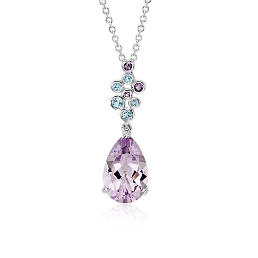 Amethyst and Blue Topaz Pendant in 14k White Gold