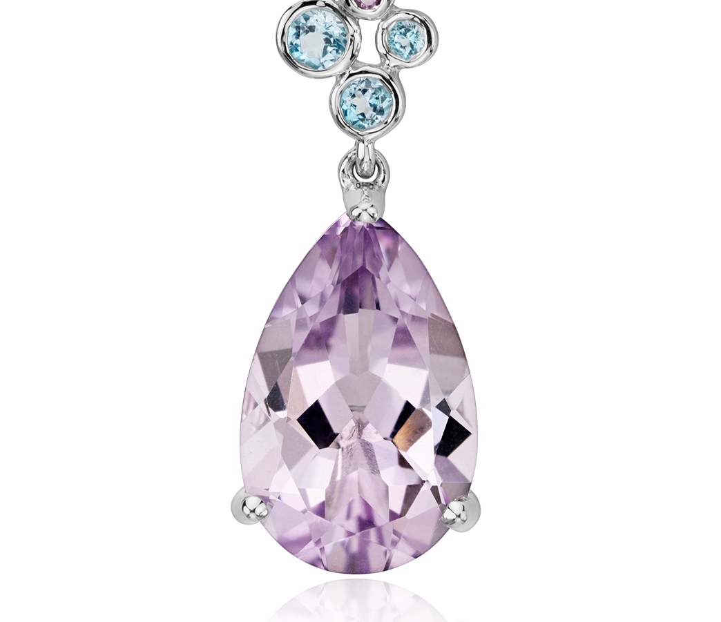 Amethyst and Blue Topaz Pendant in 14k White Gold (14x9mm)