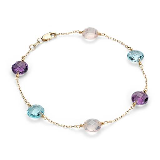 Multigemstone Station Bracelet in 14k Yellow Gold