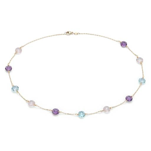 NEW Multigemstone Station Necklace in 14k Yellow Gold