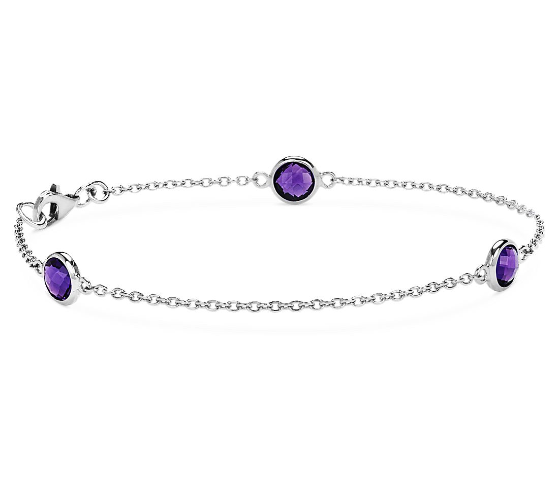 Amethyst Chain Bracelet in Sterling Silver