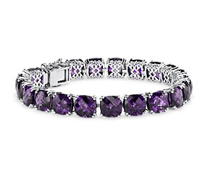 Amethyst Cushion Bracelet in Sterling Silver (8mm)