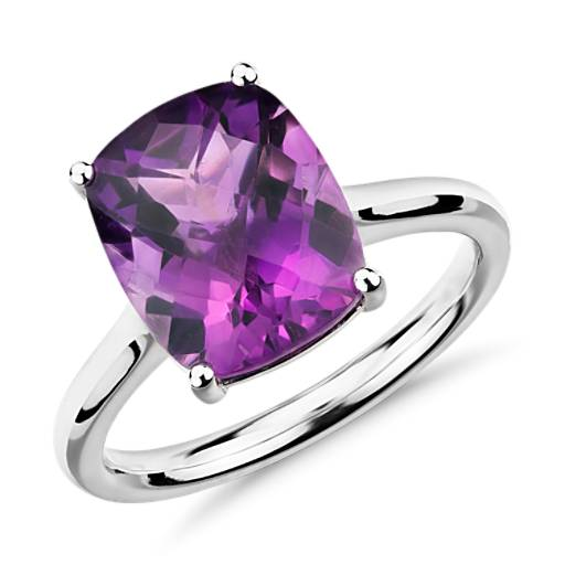 Amethyst Cushion Cut Ring in 14k White Gold (11x9mm)