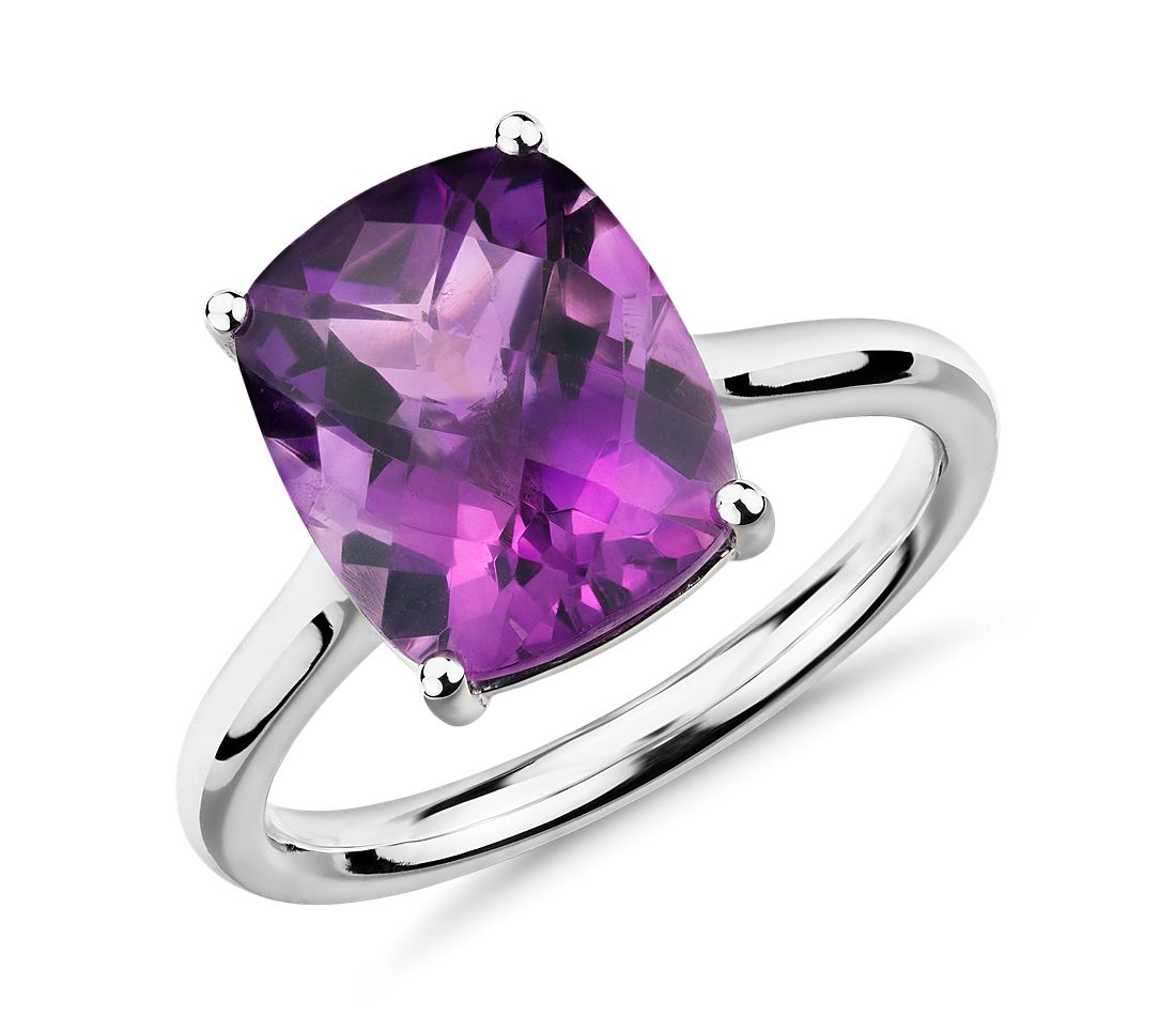 amethyst cushion cocktail ring in 14k white gold 11x9mm