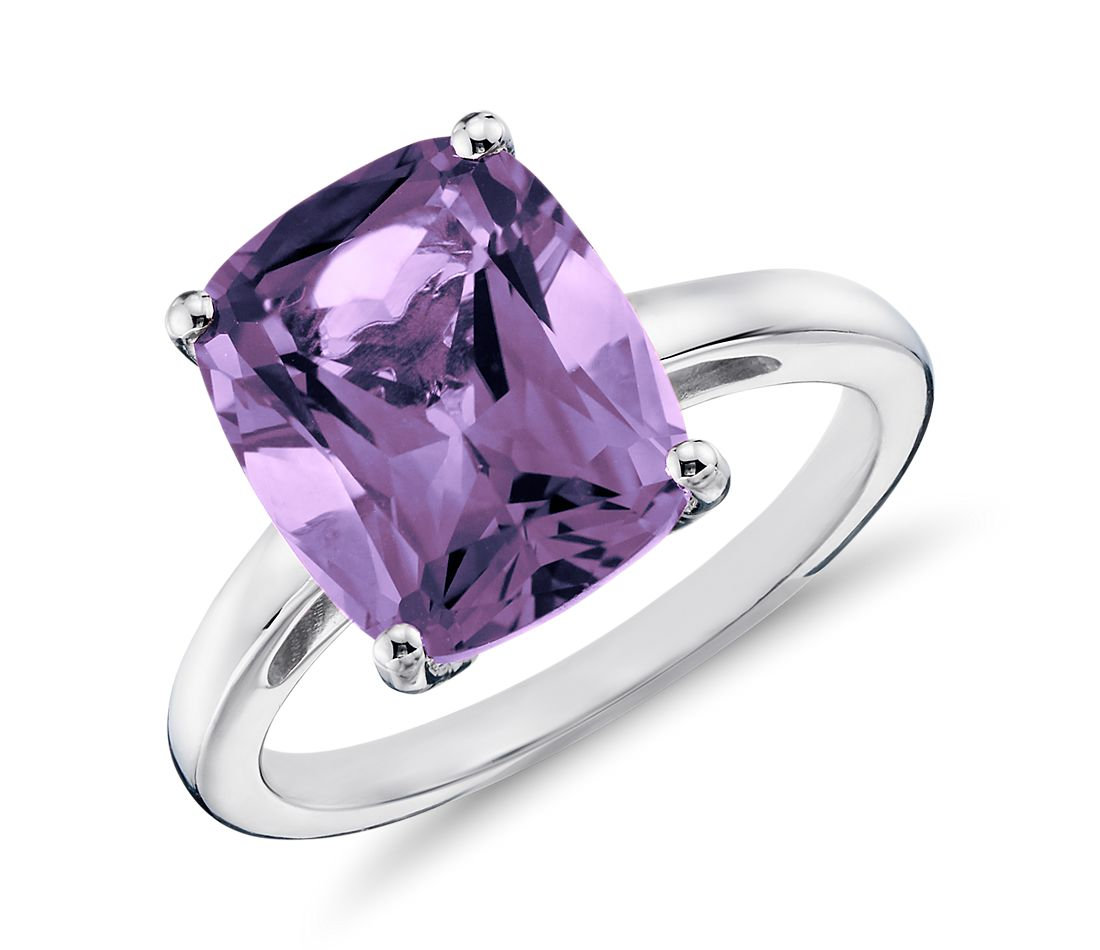 amethyst cushion cut ring in sterling silver blue nile
