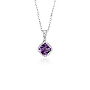 Amethyst Cushion Milgrain Pendant in Sterling Silver (6mm)